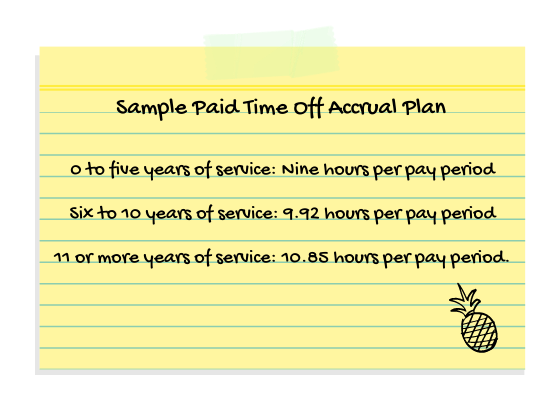 paid time off, employee vacation, sample pto accrual plan