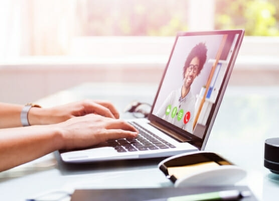 remote employee conduct, video conference call from a laptop