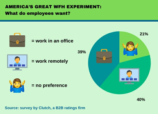 split office, remote workers, remote, piechart