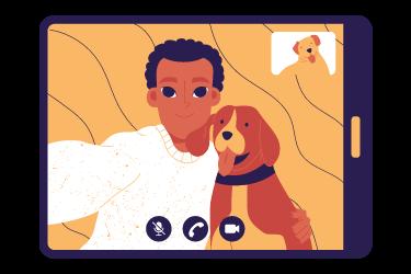 virtual meeting etiquette 375x250 pets on Zoom